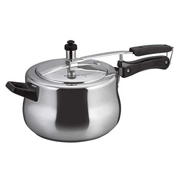 Alda Aluminum Hard Anodised 5 L Pressure Cooker (Inner Lid) - Black