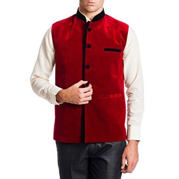 Men's Velvet Bandhgala Festive Red Nehru Jacket Waistcoat