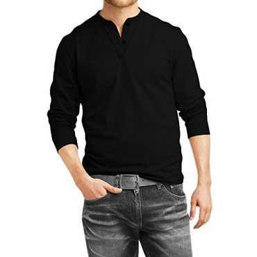 Men s Cotton Henley Full sleeve T Shirts for Men Premium Black Henley T-Shirt _Black_XL