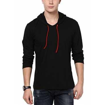 Men's Hooded Full Sleeve Cotton T-Shirt (Medium, Black)