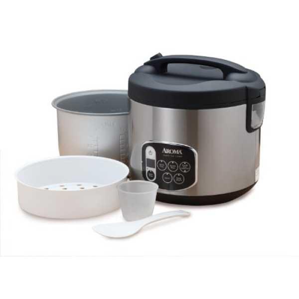 Aroma ARC-1010SB Digital Rice Cooker and Food Steamer - Black