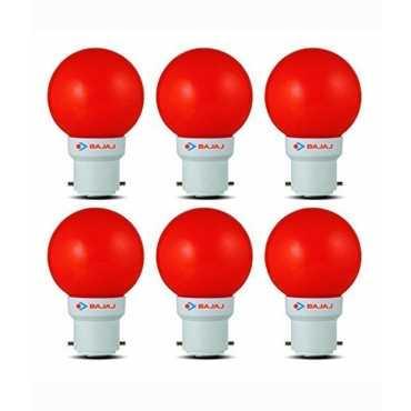 Bajaj 0.5W LED Bulbs (Red, Pack of 6) - Red