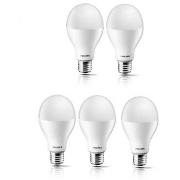 Philips Steller Bright 17W E27 Standard LED Bulb (White, Pack of 5) - White