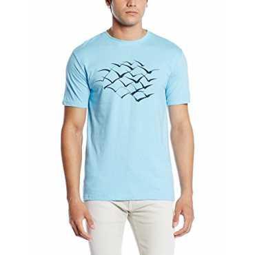 Cloth Theory Men's T-Shirt (CTABSBIRDS_Medium_Sky Blue)