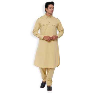 White Solid Cotton Long Pathani Kurta Salwar Suit.