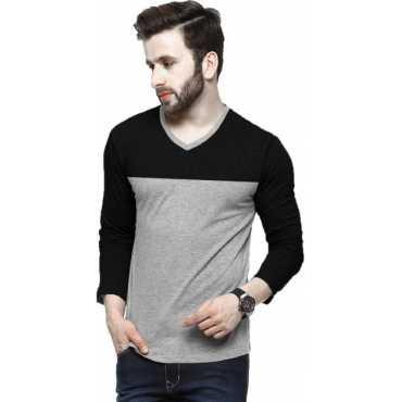 Tripr Solid Men V-neck Multicolor, Black T-Shirt