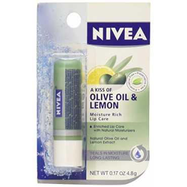 Nivea Lip Care Lip Balm Moisture Rich (Olive Oil , Lemon) (Set of 3) - Yellow