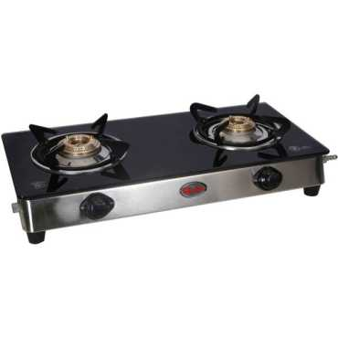 Quba S2 Top And Toughened Black Glass Gas Cooktop (2 Burners) - Black | Steel