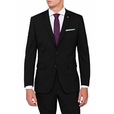 Men's Formal Blazer (FORMAL22_38_BLACK DENIM COTTTON_38)