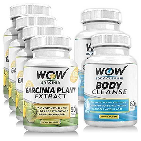 Wow Garcinia Cambogia 90 Veg Capsules Pack of 4 Body Cleanse 60 Veg Capsules Pack of 2