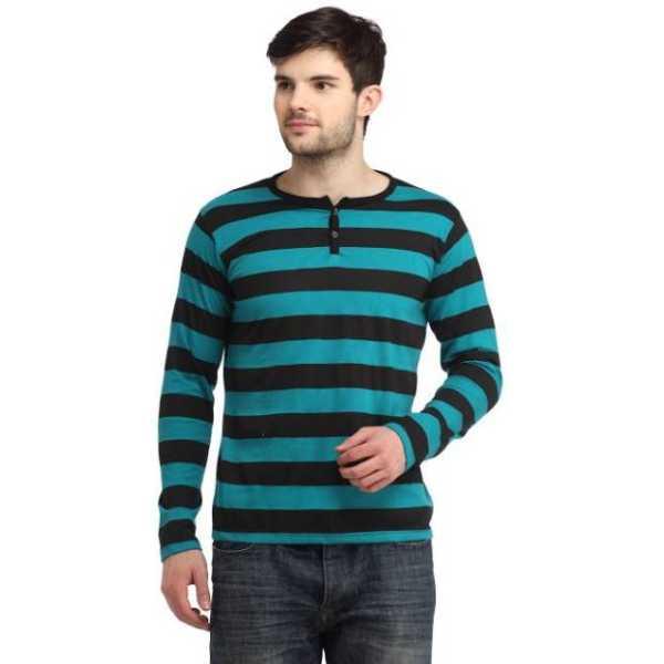 BigIdea Striped Men's Henley Green, Black T-Shirt