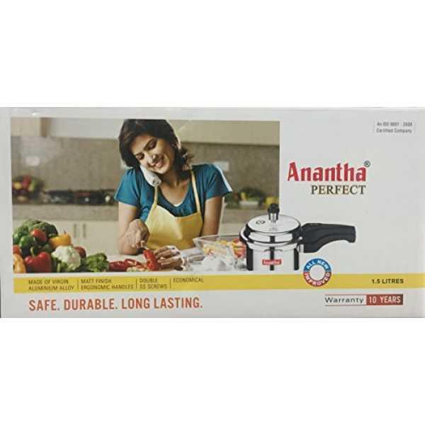 Anantha 1.5 L Perfect Aluminium Pressure Cooker - Silver