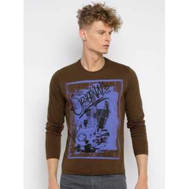 Printed Men's Round Neck Brown, Purple T-Shirt