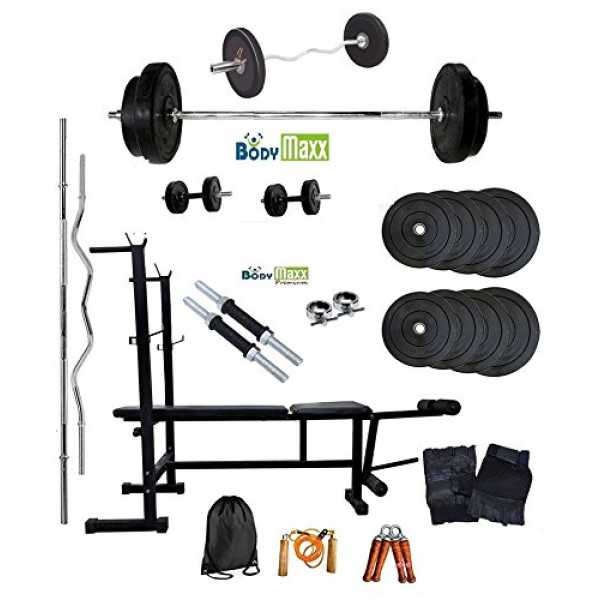 Body Maxx 70 Kg Weight lifting of Home Gym Rubber plates   Multi Purpose 6 in 1 bench press   2 Dumbells Rods   3 Feet Curl Bar   5 Feet Straight Bar   Gloves   Rope   Gym Bag   Hand Grippers & 4 Locks