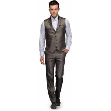 Waistcoat set with Pant Solid Men Suit