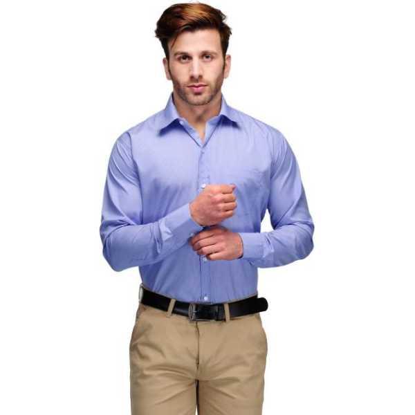 Men's Striped Formal Blue, White Shirt