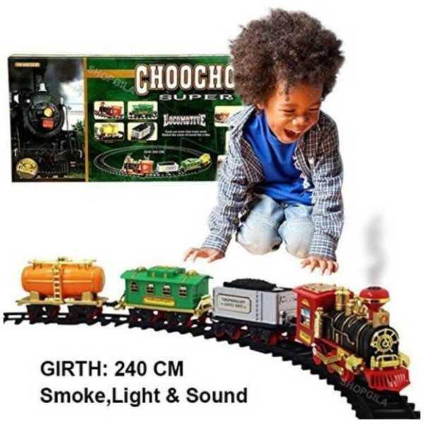 Wish Kart Kids Toy Train Emits Real Smoke Light Sound Track Set Battery Operated Choochoo Classical