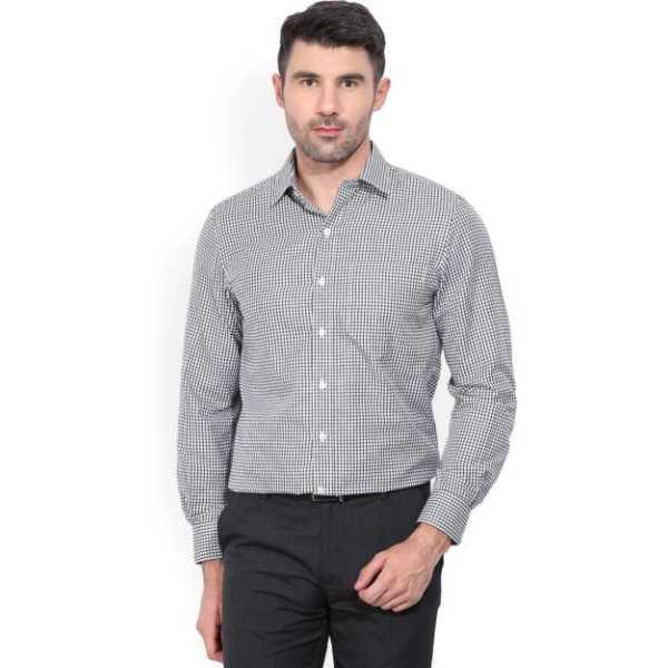 Men's Checkered Formal Dark Green Shirt