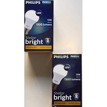Philips Stellar Bright 13W 1300 Lumens LED Bulb Golden Yellow Pack Of 2