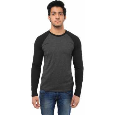 Five Stones Solid Men's Round Neck Grey T-Shirt