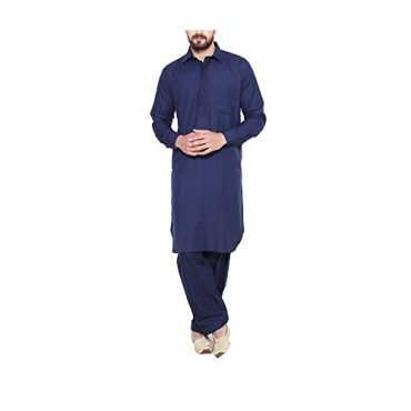 Sojanya Since 1958 Men s Cotton Blend Pathani Kurta Salwar_Navy Blue_44