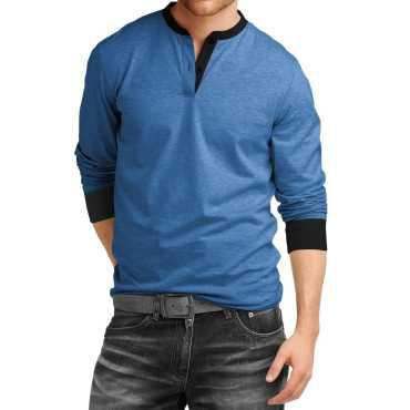 Men's Cotton Henley Full sleeve T Shirts for Men(Premium Royal Blue Henley T-Shirt)_Blue_M