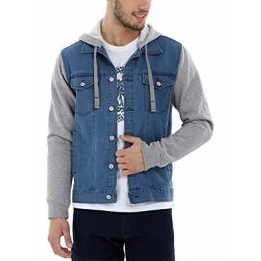 Men's Hooded Denim Jacket(51118A_Midwashed Indigo_X-Small)