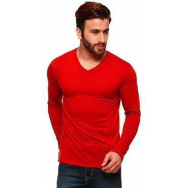 Tripr Solid Men s V-neck Red T-Shirt