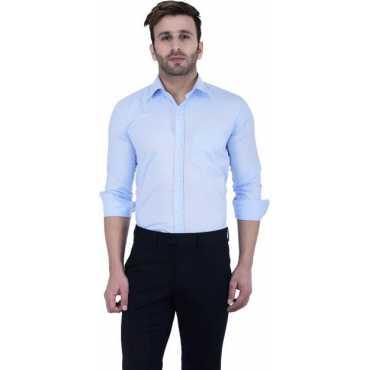 Hangup Men's Solid Formal Blue Shirt