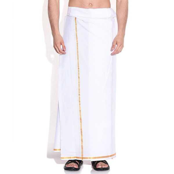 Stylish Plain White Mens Dhoti with Golden Zari