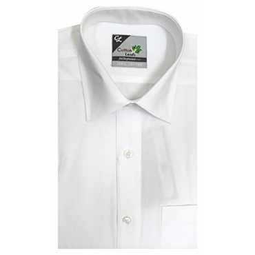 COTTON LEAFS Men's Formal Shirt GENTLE HALF HAND (White, 42)