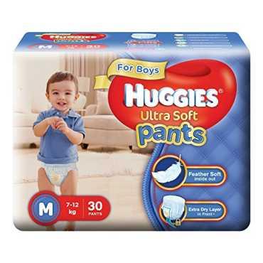 Huggies Ultra Soft Pants Premium Diapers for Boys Medium (30 Pieces)  - White
