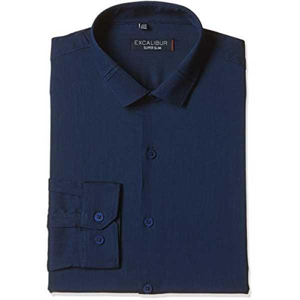 Excalibur Men's Formal Shirt (8907542394500_400016280142_39_Navy)