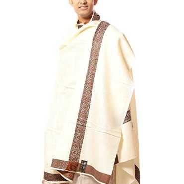 Weavers Villa Plain Luxurious Men s Shawl with Woven Border White