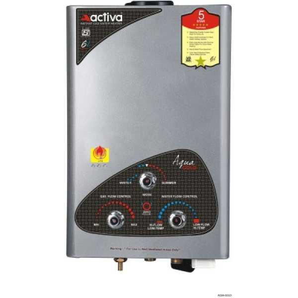 Activa Aqua 6 Litre Gas Water Geyser - Silver