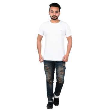 Men s White Round Neck T-Shirts