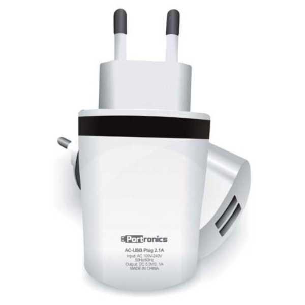 Portronics AC-USB 2.1A Dual USB Wall Adapter - White