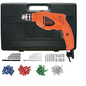 Black & Decker HD400KA50 500W Impact Drill Kit (75 Accessories) - Orange