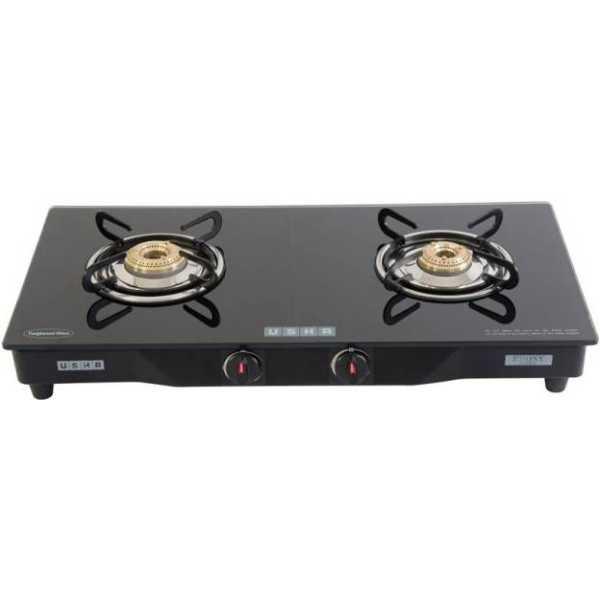 Usha Ebony GS2 001 Glass Manual Gas Cooktop (2 Burners)