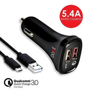 Boat 5.4A QC3.0 Dual Port Smart Rapid Car charger  - Black