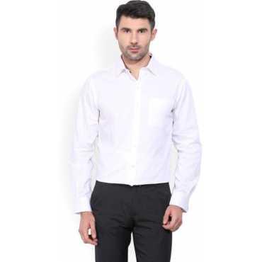 Men's Self Design Formal White Shirt