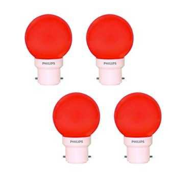 Philips 0 5W Decomini B22 LED Bulb Red Pack of 4