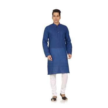 White  Blue Cotton Plain Kurta  Pyjama Sets For Men