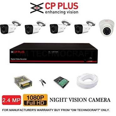 CP PLUS CP-ER-0804E1-TS 8 Channel DVR, 1 (CP-GTC-D24L2-V3) Dome CCTV Camera, 4 (CP-GTC-T24L2C-V3) Bullet CCTV Cameras (With 2TB HDD, Accessories)