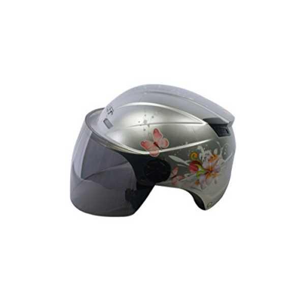 Autofurnish BT-1007 Bullit Trendy Helmet with Floral Graphics and Smoke Black Glass (Large) - Black