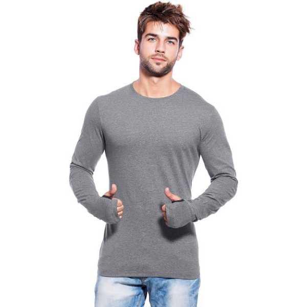 Solid Men's Round Neck Grey T-Shirt