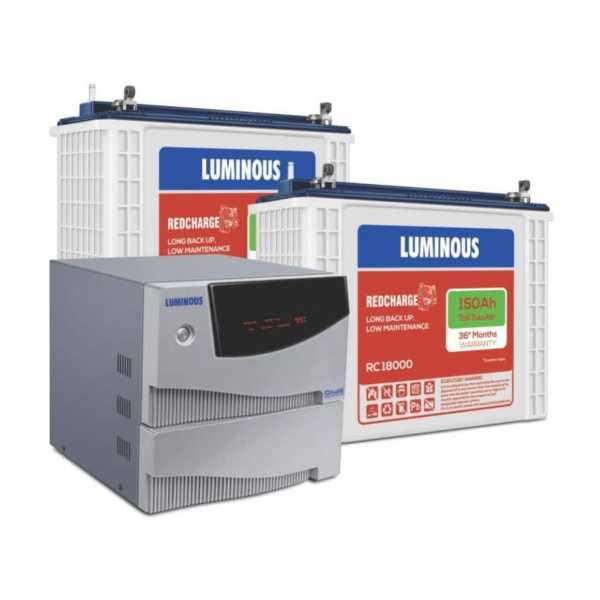 Luminous Cruze 2KVA Sine Wave Inverter With RC-18000 150Ah Batteries (Pack of 2)