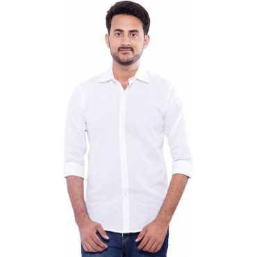 Deeksha Men s Solid Formal White Shirt