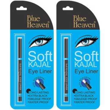 Blue Heaven Soft Kajal Eye Liner (Black) (Set of 2)  - Black | Blue