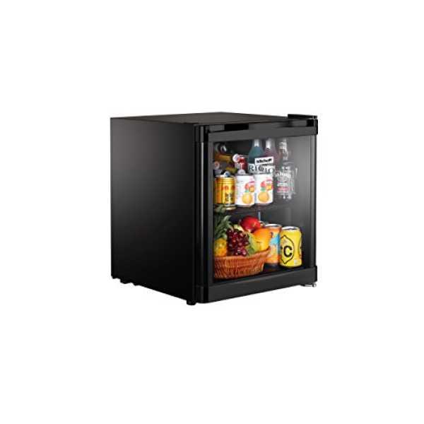 Kitchoff 50L Aluminium & Glass Door Mini Refrigerator - Black